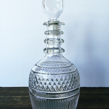 Vintage Glass Decanter marked Designed by Tiffany and Co.
