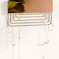 Hanging Rectangle Mirror Jewelry Organizer