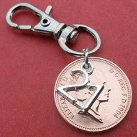 "21st Birthday gift 1994 coin bag charm 21st birthday present with ""21"" charm British Coin"