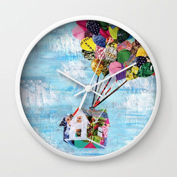 Up House clock, Wall clock, Mother's Day gift Unique Valentine's gift idea, Adventure is out there, decorative clock mixed media collage art