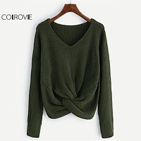COLROVIE Twist Front Chunky Sweater Women V Neck Green Long Sleeve Basic Pullovers Fall 2017 Fashion Casual Loose Cute Sweater