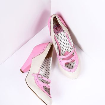 Blush Pink & Cream Poppy Heart Spectator Heels