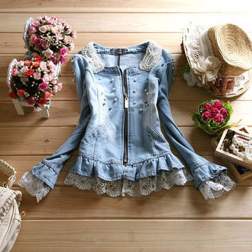 Vintage Denim Lace & Pearls Jacket