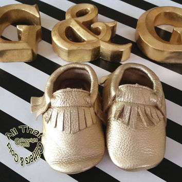 Gold Leather Baby Moccasins - 100% Genuine Leather Gold Soft Sole Fringed Baby Moccasin Shoes Sizes 0 to 24 months