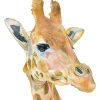Giraffe Watercolor Painting - 5 x 7 - Giclee Print Reproduction - African Animal - Nursery Art