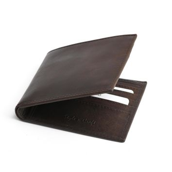 391003 Slim Bifold Hipster Dark Brown Leather Wallet | Style n Craft