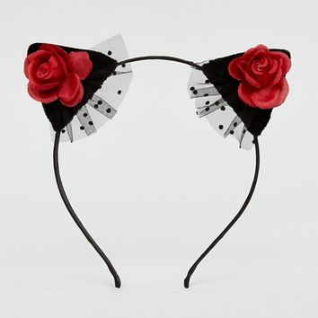 ASOS Halloween Red Rose & Velvet Cat Ears at asos.com