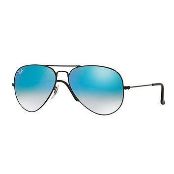Ray-Ban Ombre-Mirrored Aviator Sunglasses, Black/Blue