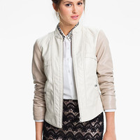 Collection B Colorblock Faux Leather Jacket (Juniors) | Nordstrom