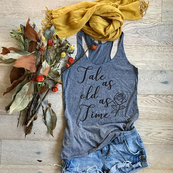Tale As Old As Time. Beauty And The Beast. Women's Eco Tri-Blend Tanks. Women Clothing. Disney Tank Top. Disney Gift Triblend Tank.