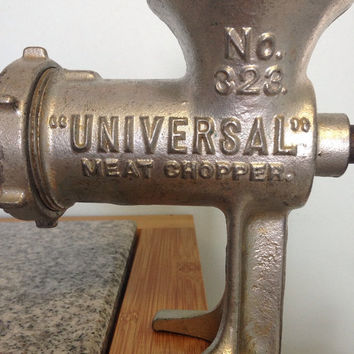Vintage Universal Meat Grinder, Large Rustic Meat Chopper, Heavy Cast Iron. Country Cottage Farmhouse Kitchen Decor, Kitchenware