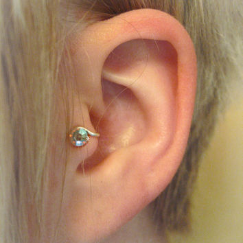 Starlight LEFT Crystal Tragus Cuff White Austrian Swarovski Crystal Silver Ear Cuff rainbow iridescent wire earring alternative