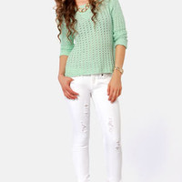 RVCA Badlands Distressed White Skinny Jeans