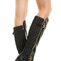 Gold Zipper Buckle Quilted Tall Shaft Flat Knee High Military Combat Riding Boot