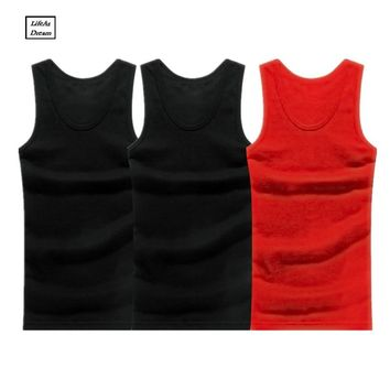 3PCS Men's Close-fitting Vest Fitness Elastic Casual O-neck Breathable H Type All Cotton Solid Undershirts Male Tanks