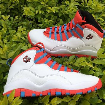 "Nike Air Jordan 10 Retro ""Chicago Flag"" White 310805-114 Basketball Sneaker"