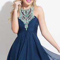 Short High Neck Homecoming Dress by Rachel Allan