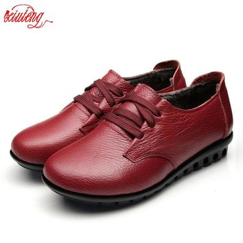 2016 Autumn Women Boots Women Genuine Leather Winter Boots Women Platform Flat Platform Casual Shoes Creepers
