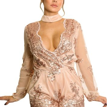 Champagne Sequin Embroidery Sheer Long Sleeve Romper
