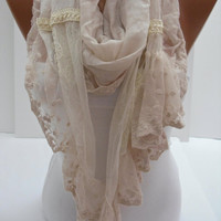 Cream Shawl/Scarf  with Lace by DIDUCI on Etsy