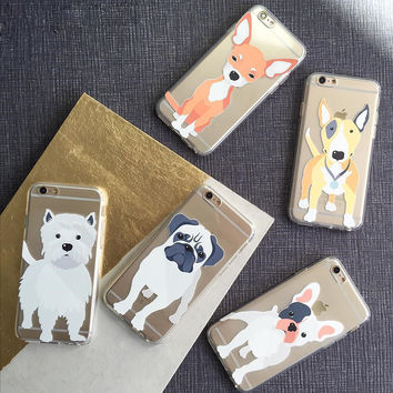 For iPhone 6S Case Cute Dogs Animals Transparent Crystal Clear Soft TPU Gel Flexible Skin Cover Case for iPhone 6 6S 4.7 inch