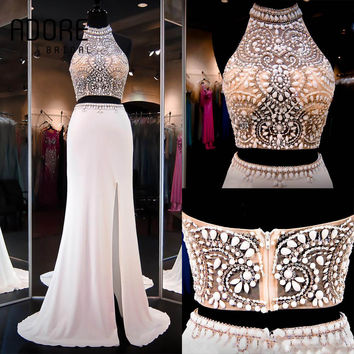 2016 Ivory new coming Two Pieces Halter hollow Back Split side sexy Mermaid Prom Dresses long Party Evening gowns for women