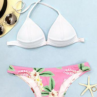 Cupshe Fresh Summer Blooming Halter Bikini Set