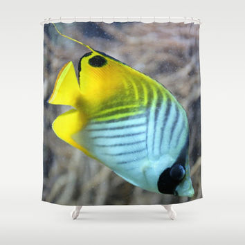 Threadfin Butterflyfish Shower Curtain by Christine Aka Stine1