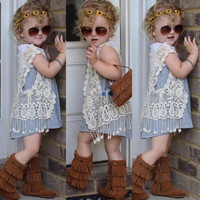 Toddler Kids Baby Girls Crochet Lace Hollow T-shirt Tops Vest Tassel Waistcoat