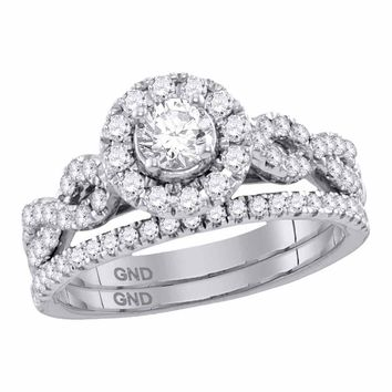 14kt White Gold Womens Round Diamond Solitaire Halo Twisted Bridal Wedding Ring Set 1 Cttw (Certified)
