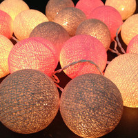 20 Lighting White-Pink-Gray Cotton Ball String Lights Ideal for Christmas Lights, Party Lighting, Bedroom Decor