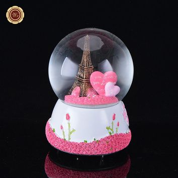 Paris Snow Globe Eiffel Tower Music Box w Pink Heart Best Wedding LOVE Gift