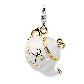 925 Sterling Silver Gold Plated White Enamel Victorian Tea Pot Charm