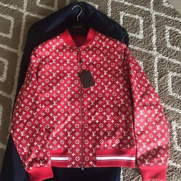 One-nice™ Brand New Rare Louis Vuitton LV Supreme X Red Leather Bomber Jacket size 56