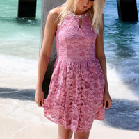 Sarasota Embellished High Neck Lace Rose Swing Dress