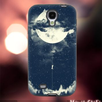 MC52Z,6,crescent,moon,climbing,up,space -Accessories case cellphone- Design for Samsung Galaxy S5 - Black case - Material Soft Rubber