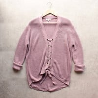 lavender lace up grommet knit sweater