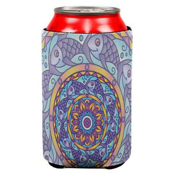 CREYCY8 Mandala Trippy Stained Glass Fish All Over Can Cooler