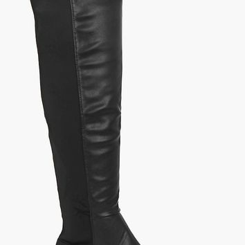Lucia Elastic Back Over Knee Boot | Boohoo