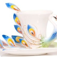 Claybox Hand Crafted Porcelain Enamel Graceful Peacock Tea Coffee Cup Set with Saucer and Spoon, Blue