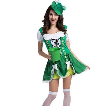 Adult Sassy Lassie Costumes St. Patricks Day Costume for Women Girl Oktoberfest Costumes Maid Lucky Charm Green Dress with hat
