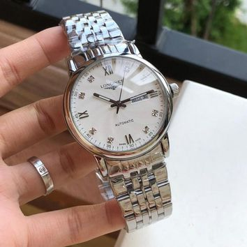 DCCK L037 Longines Waterproof Automatic Mechanical Men Steel Band Watches Sliver White