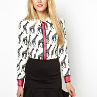 Block Giraffe Long-Sleeve Collared Shirt
