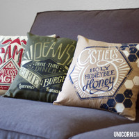 Supernatural Inspired - Team Free Will Trio Pillow Covers - Hand Printed and Sewn