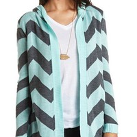 HOODED CHEVRON CARDIGAN SWEATER