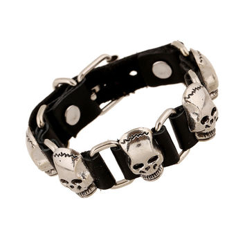 Hot Sale Awesome Shiny Stylish New Arrival Gift Great Deal Punk Rivet Leather Bangle Vintage Skull Alloy Men Ring Bracelet [6526776323]