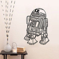 Star Wars Robot Wall Decals Quote R2 D2 Stickers Vinyl Home Decor Kids Geek Gamer Removable Mural Bedroom Wallpaper free shipping