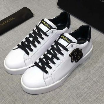 D&G Dolce & Gabbana Spring and Autumn Casual Men's Shoes Fashion Joker Sneakers F-XIMIN-WMNX white