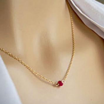 Genuine Tiny Ruby Necklace, Perfect Layering Gemstone Minimal Necklace, Everyday Jewelry Gift