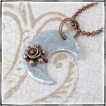 To The Moon Metal Necklace by glasstastictreasures on Etsy